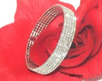 Swarovski crystal cuff bracelet, wedding crystal cuff bracelet, bridal crystal bracelet, prom jewelry, prom bracelet, bridesmaids bracelet