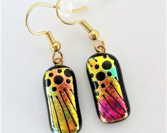 Dichroic Glass Bright Yellow and Pink Party Dangle Earrings Black Etched Designs on Pink and Yellow Dichroic Fused Glass Wire Earrings