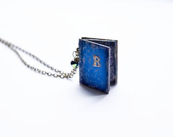 Personalized initial Book reader pendant Teacher gift jewelry Blue book lover gift Cool gift for women Book for mom Gift book for girlfriend