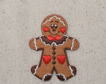 Christmas - Gingerbread Man - LARGE - Hearts - Iron on Applique - Embroidered Patch - 695600-A