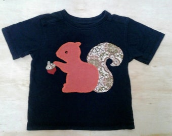 Squirrel kids t shirt - handmade upcycled clothes - applique - acorn nut