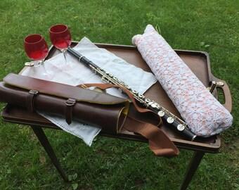 Flute holder, descending to the Do model Chianina leather