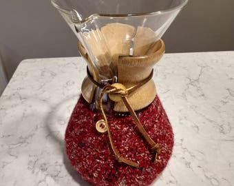Hand Crafted Chemex Cozy / Cardigan - Fits 6 Cup Chemex - Cranberry
