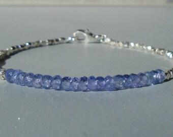 Tanzanite Bracelet, Silver Bracelet, December Birthstone, Dainty Beaded Gemstone Bracelet, Karen Hill Silver, Skinny Bracelet, Minimalistic
