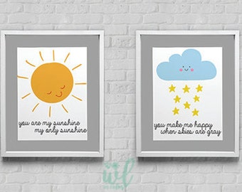 You Are My Sunshine My Only Sunshine You Make Me Happy When Skies Are Gray Instant Download Wall Art 8x10/11x14