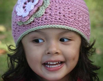 Girls Blossom Beanie Crochet Hat Pattern No.202 Baby to adult sizes uses DK Weight (Australian 8ply) Yarn English