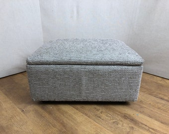 Silver Tessuto Fabirc Foot Stool/Storage Box/Pouffe