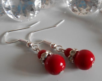 Wedding earrings rhinestone and Red passion pearls