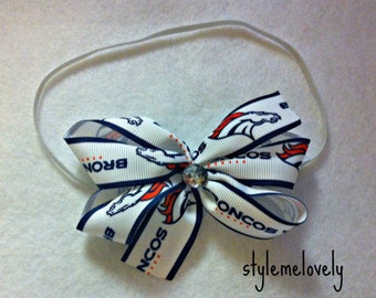 Denver Broncos Baby Girl Boutique Bow Elastic Headband