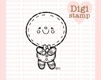 Gingerbread Boy Digital Stamp for Card Making, Paper Crafts, Scrapbooking, Hand Embroidery, Invitations, Stickers, Coloring Pages