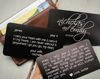 Custom Wallet Card, Personalized Wallet Insert, Engraved Love Note, Valentines, Anniversary Gift for Men, Wedding Gift for Him, Fathers Day