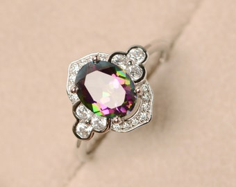Mystic topaz, oval cut ring, rainbow topaz ring, engagement ring