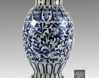 Stoneware Westerwald German Antique Ceramic Cobalt Hand Painted Stoneware Vase