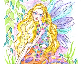 Fantasy Art Printable Page - Digital Download - Fantasy Art - Mushroom Fairy by Leslie Mehl Art