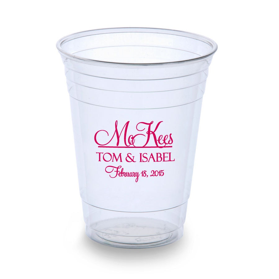 Wedding Favor Cups 500 Personalized 16oz Disposable Plastic