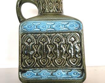 1960's/1970's Price Kensington Piraeus Blue Green Jug Vase 22 cm