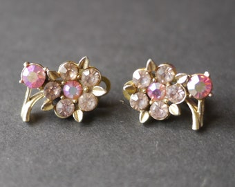 Clip on vintage flower earrings with pink and pale pink rhinestones