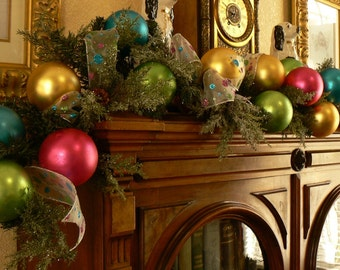 Goody Goody Gumdrops 6 ft Christmas Garland made with Vintage 1960's Glass Ornaments