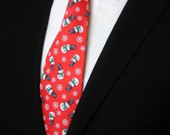 Snowman Tie – Snowman Necktie / Mens or Boys Christmas Snowman Neck Tie also available as a Skinny Tie.