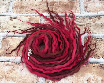 14 Red, Pink & Brown Tones Double Ended Wool Dreadlocks , Wool Dreads, Festival, Boho, Hippie, Gypsy, Hair Extensions,  Dreads, Dreadlocs