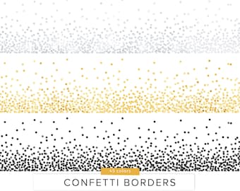 Confetti Borders / Vector and PNG / Gold Silver Round Party Confetti Elements Sprinkles Glitter Colors Invite Decoration / Digital Download
