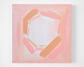 SALE: blush pink and gold abstract painting - tiny painting - modern minimal art - mini art