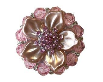 """Unique Decorative Cabinet Knob Swarovski Crystal/Pink Sparkly Pearl Flower/Kitchen/Bath/Bling Cupboard Door Knob/Girls Dresser Drawer 1-3/8"""""""