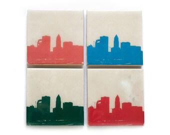 Cleveland Skyline Coaster Set (4 Stone Coasters, Orange, Green, Blue, & Red) Cleveland Ohio Gift, Cityscape Home Decor