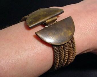 Oxidized Brass Knitted Chain Bracelet