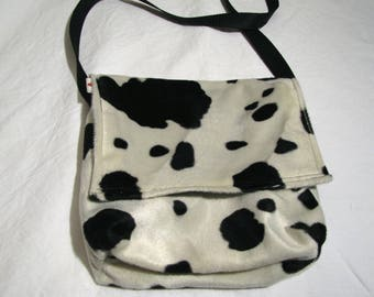 """Cow"" Messenger bag white with black spots."