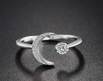 New Moon Crescent Ring CZ 925 Sterling Silver Adjustable Ring