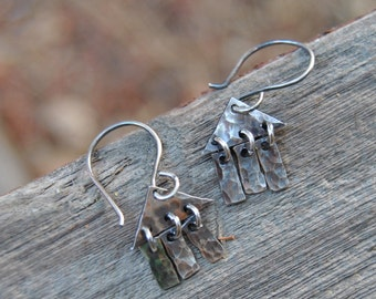 Silver Minimalist Earrings, Dangle Earrings Silver, Hammered Silver Earrings, Unique Silver Earrings