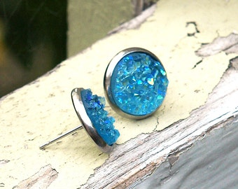 Aqua Faux Druzy Studs, 12mm Blue Glitter Chunky Cabochons on Stainless Steel Posts and Cup Bezels