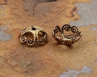 4 Antique Gold 8mm Filigree Bead Caps - 2 pairs  - Nunn Designs