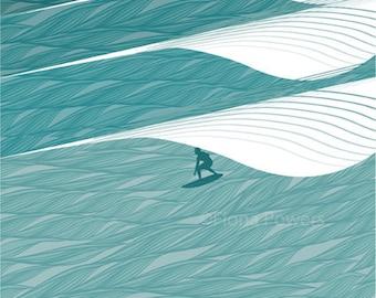 A4 Surfing giclée print