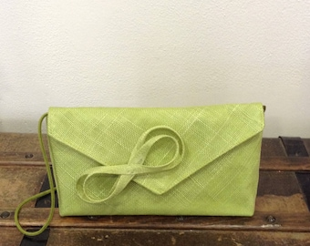 Apple green sinamay wedding clutch