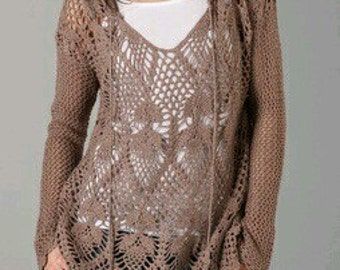 Crocheted Long Sleeve Pineapple Tunic - MADE TO ORDER