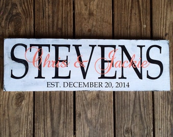 Personalized family sign. Family Established sign. Wedding sign.