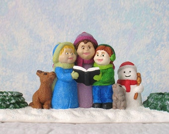 Handpainted Plaster Candle Holder, Caroling Kids