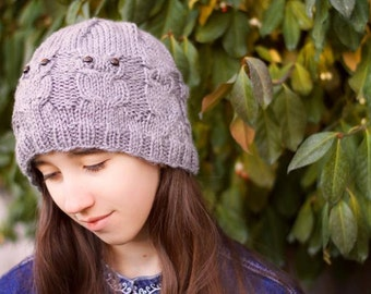 Knit Owl Hat, Womans Owl Hat, Gift for Her, Gift under 30, Slouchy Hat, Owl Toque, Adult Owl Hat, Birthday Present, Knitted Hat with Owl