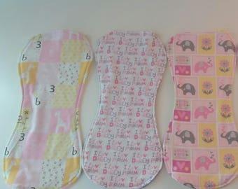 Flannel Burp Cloths - Pink