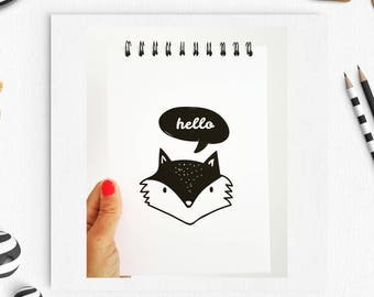 Fox Notebook, Hello Fox, Typography Notebook, Cute fox Pad, fox Notebook, Quote Notebook, Personalised Notebook, Gift for her, gift for him,