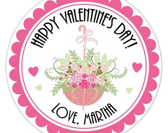 Floral Umbrella Valentine's Day Stickers, 2.5 inch round