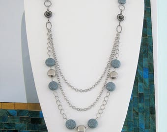 Long Blue-Gray and Silver Multi Strand Necklace, Gray Necklace, Multi Strand Blue Beaded Necklaces, Beaded Necklaces, Silver Jewelry,N910