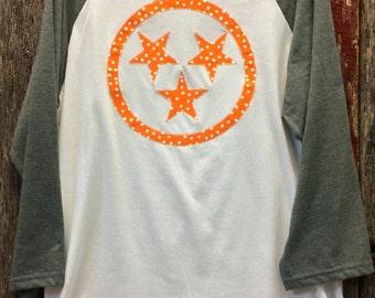 Tennessee Tri-star Baseball Tee - Raglan - Tristar - Tennessee Orange - Vols