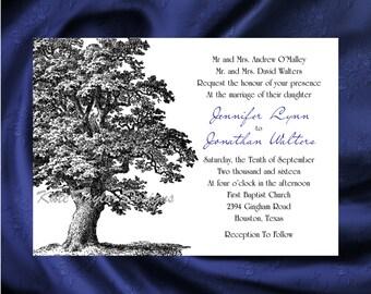 Oak Tree Wedding Invitation & RSVP  Tree Wedding Invitations  Oak Tree Wedding Invitation  Tree Design No. 48