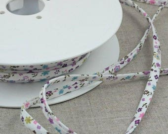 1 m of spaghetti cord rustle 7mm - floral - white - purple - pink - green - 4052 7 9