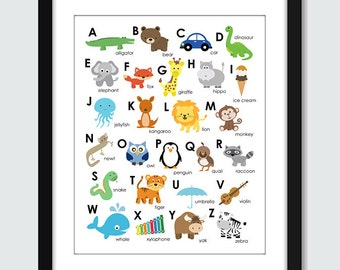 Animal Alphabet ABC Wall Art - 8x10 Baby Children Nursery A to Z Wall Print Poster