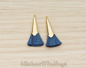 PDT1259-01-G-BL // Blue Silk Gold Plated Simple Corn Top Small Tassel Pendant, 2 Pc
