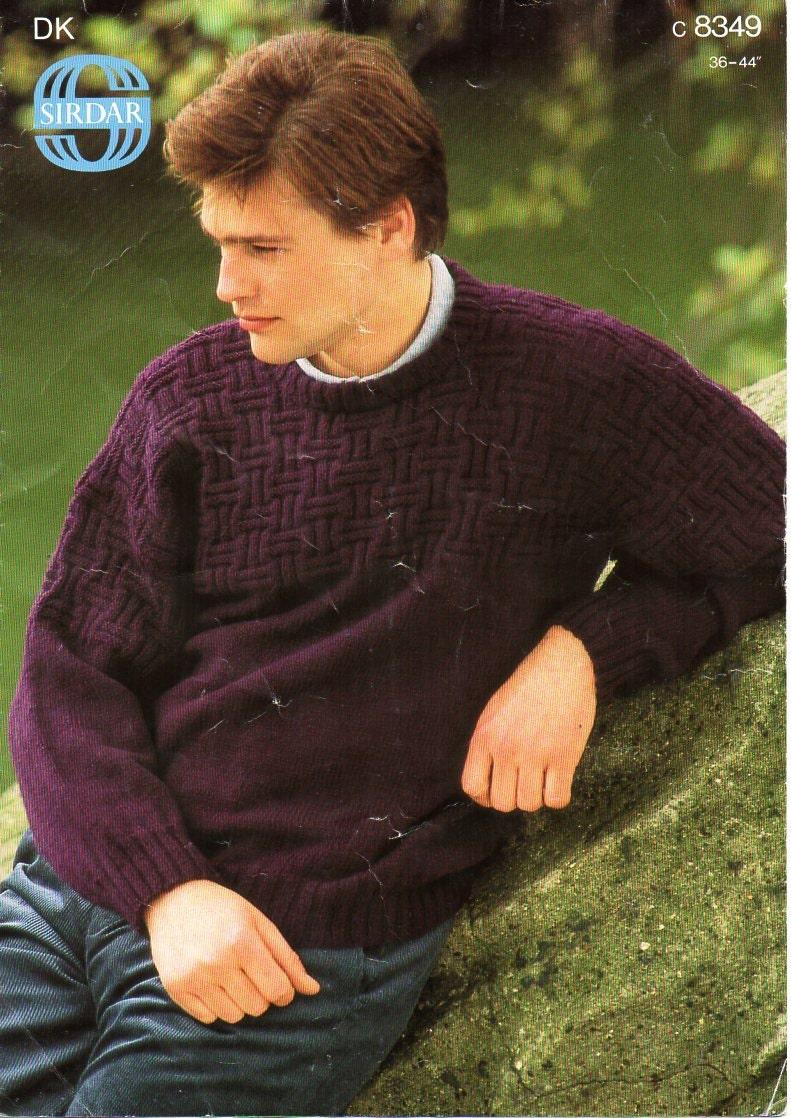 mens sweater knitting pattern PDF mens crew neck jumper